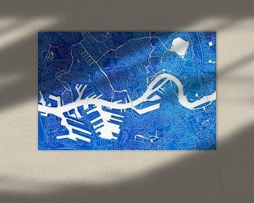 Rotterdam Stadskaart | Blauwe Aquarel van Wereldkaarten.Shop