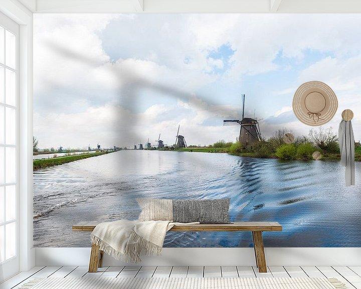 Sfeerimpressie behang: Kinderdijk Windmolens van Brian Morgan