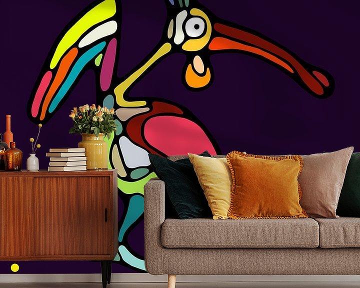 Sfeerimpressie behang: Fat Belly Bird van Michel Linthorst