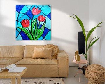 Rode Tulpen van Angelique van 't Riet