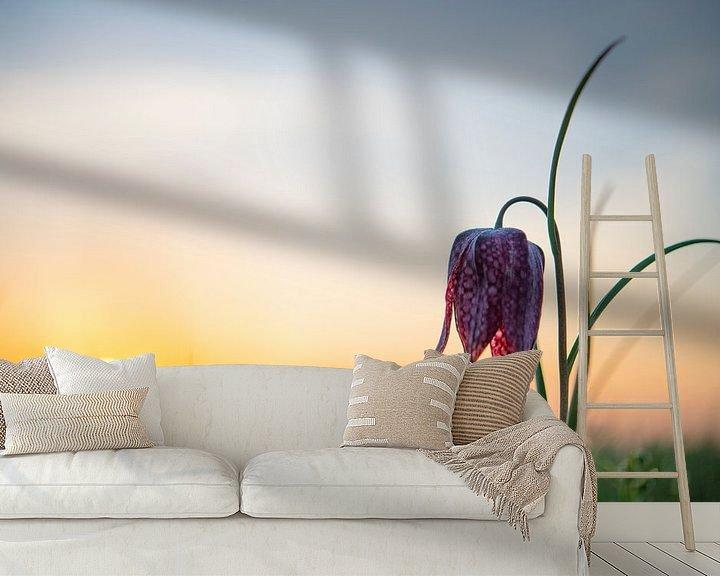 Sfeerimpressie behang: Kievitsbloemen  in een veld tijdens een prachtige lente zonsopkomst met dauwdruppels op het gras. van Sjoerd van der Wal