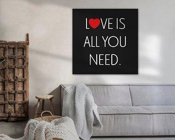 Leinwand mit rotem Herzen und weißen Buchstaben, die 'Love is all you need' bilden von Mike Maes