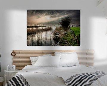 Sonnenuntergang über einer holländischen Landschaft von Fotografiecor .nl