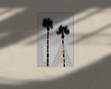 Grafische kunst BOMEN LA | grijs van Melanie Viola