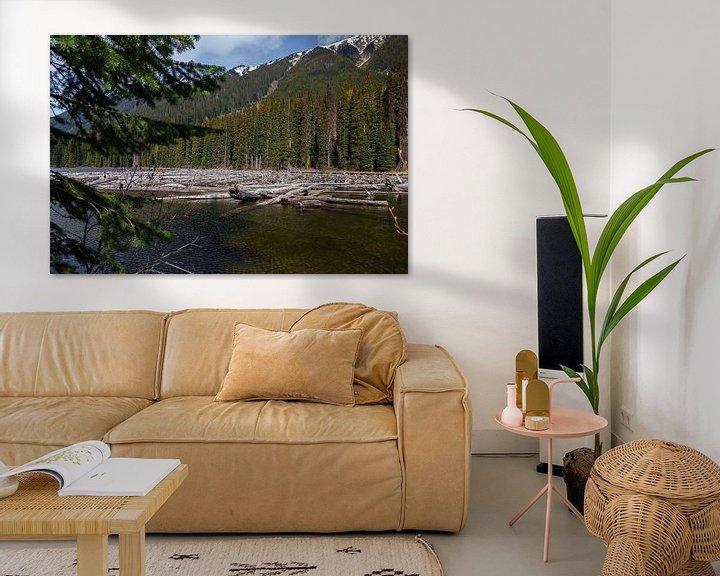 Sfeerimpressie: Drijfhout in een rivier in Canada van Menno Schaefer