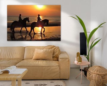 Horses on the evening beach at sea sur ProPhoto Pictures