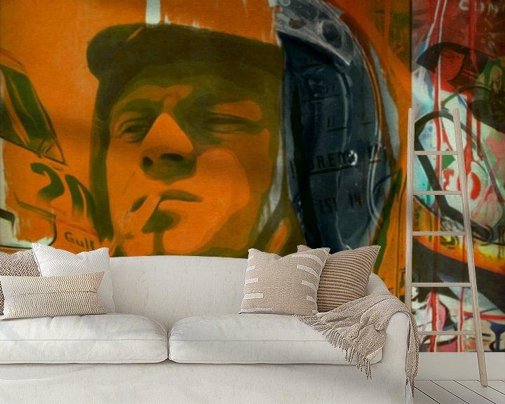 Beispiel fototapete: Steve McQueen - Orange Vintage - Le Mans von Felix von Altersheim