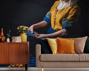 Het Melkmeisje van Joh Vermeer in een moderne versie. van ingrid schot