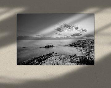 Zwart Wit Zonsondergang Kroatië  van Ruwan Silva