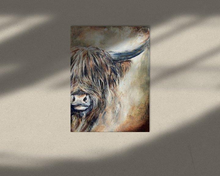 Beispiel: Schottisches Hochlandrind mit Acrylfarbe von Els Fonteine