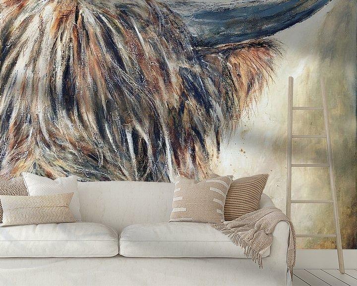 Beispiel fototapete: Schottisches Hochlandrind mit Acrylfarbe von Els Fonteine