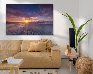 Landschap, zonsondergang op het strand van Marcel Kerdijk