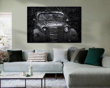 Verlassenes altes autowrack bedeckt mit Zweigen