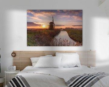 Landschap, molen bij zonsopkomst van Marcel Kerdijk