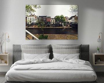 De werf, de Oudegracht en de grachtenpanden in Utrecht