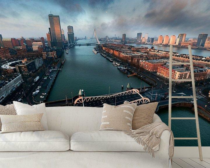 Sfeerimpressie behang: Panorama Rotterdam van Jasper Verolme