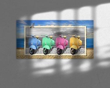 Bunte Motorroller im nostalgie Rahmung