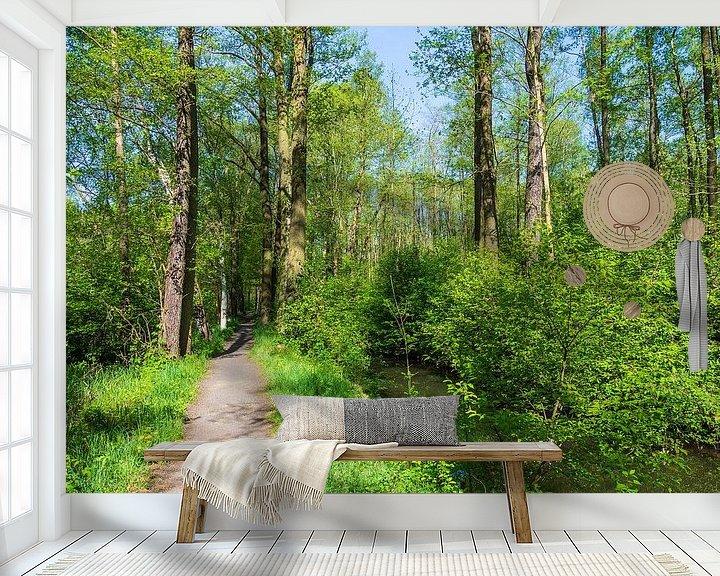 Sfeerimpressie behang: Landscape in the Spreewald area, Germany van Rico Ködder