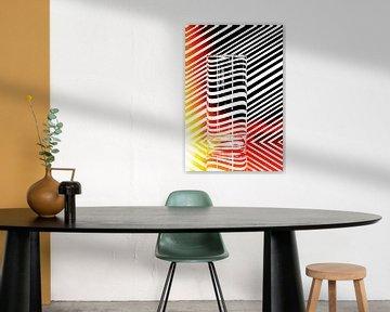 Vervorming in glas met lijnen von Wim Stolwerk
