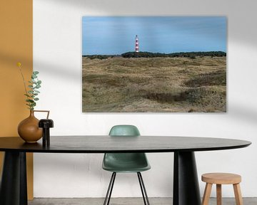 Vuurtoren van het Waddeneiland Ameland met duinen van Tonko Oosterink