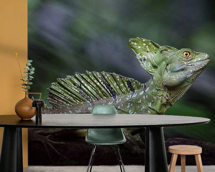 Sfeerimpressie behang: Basilisk hagedis / basilisk lizard van Elles Rijsdijk