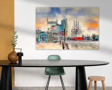 Hamburg Elbphilharmonie en Museum Schip Cap San Diego van Peter Roder
