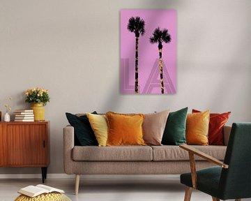 Grafikkunst PALMEN LA | pink von Melanie Viola