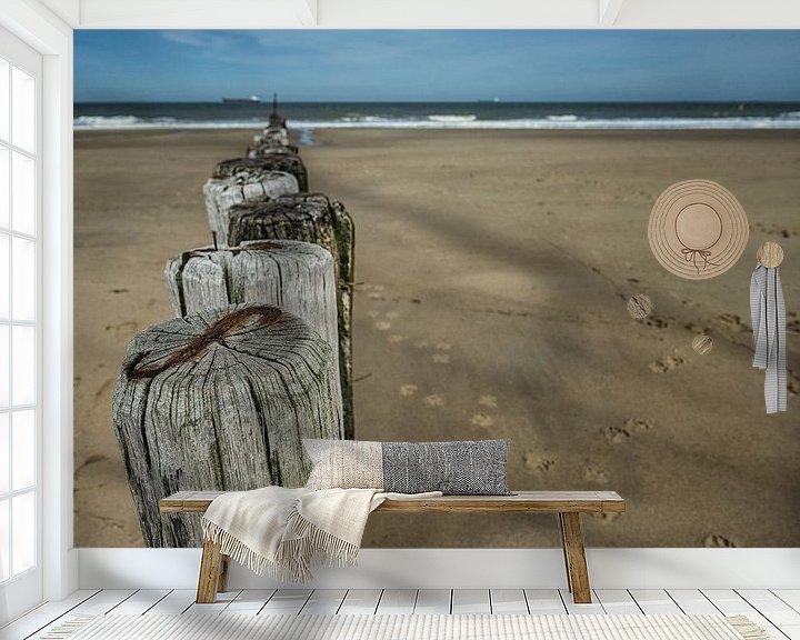Sfeerimpressie behang: Paaltjes (Kleur) van Lex Schulte