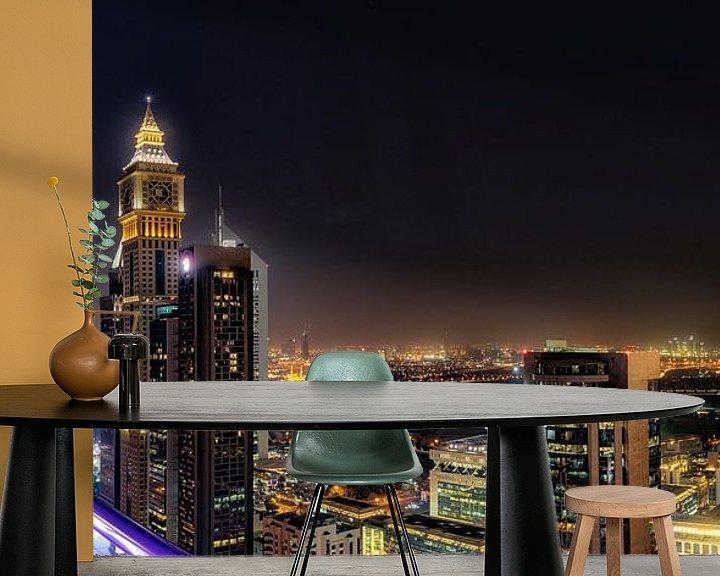 Sfeerimpressie behang: Dubai Skyline van Michael van der Burg