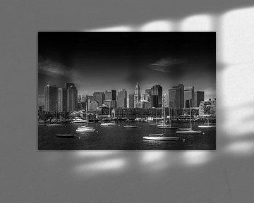 BOSTON Skyline, Noord-Einde En Financiële District | zwart-wit van Melanie Viola