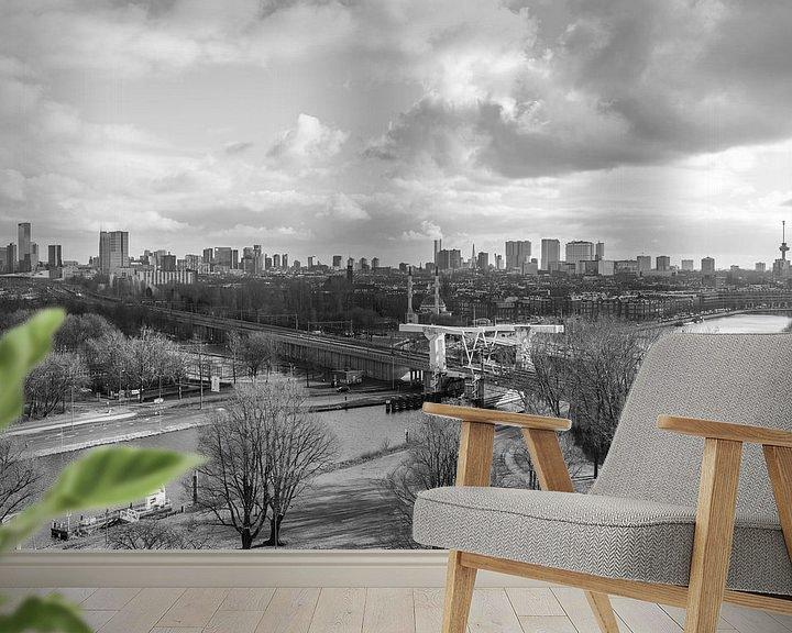 Sfeerimpressie behang: Het uitzicht op de skyline van Rotterdam vanuit de Van Nelle Fabriek van MS Fotografie   Marc van der Stelt