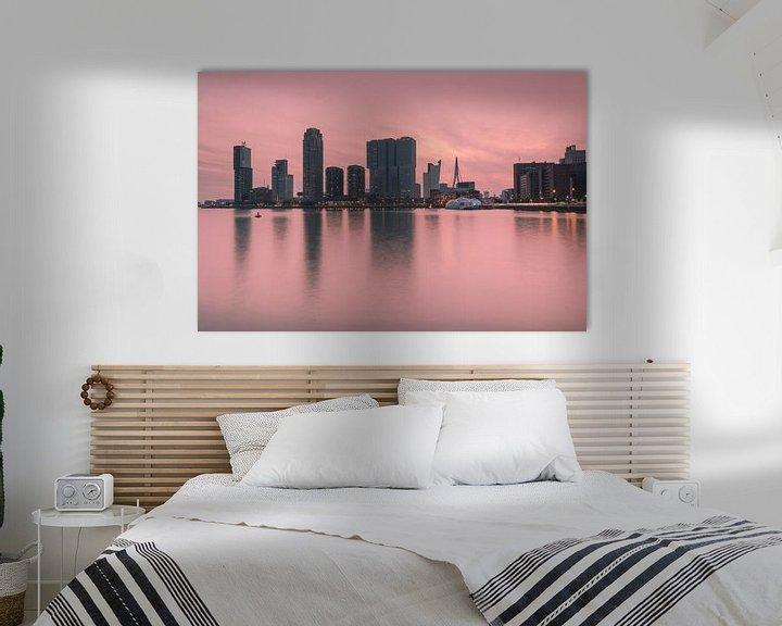 Sfeerimpressie: Pink sunset in Rotterdam van Ilya Korzelius
