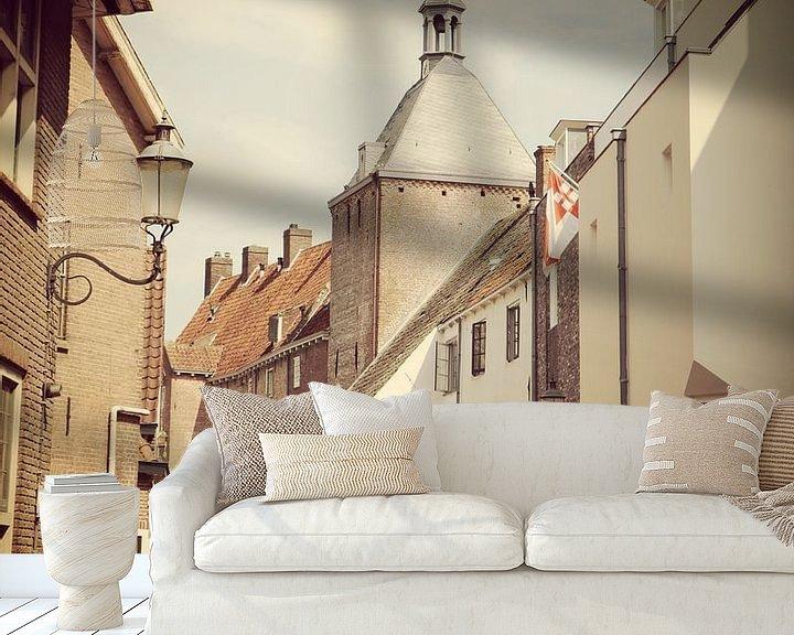 Sfeerimpressie behang: View of historical old town of Amersfoort, Netherlands van Daniel Chambers