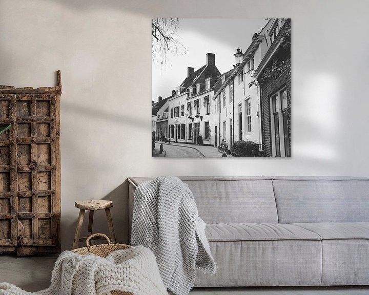 Sfeerimpressie: View of historical old town of Amersfoort in black/white, Netherlands van Daniel Chambers