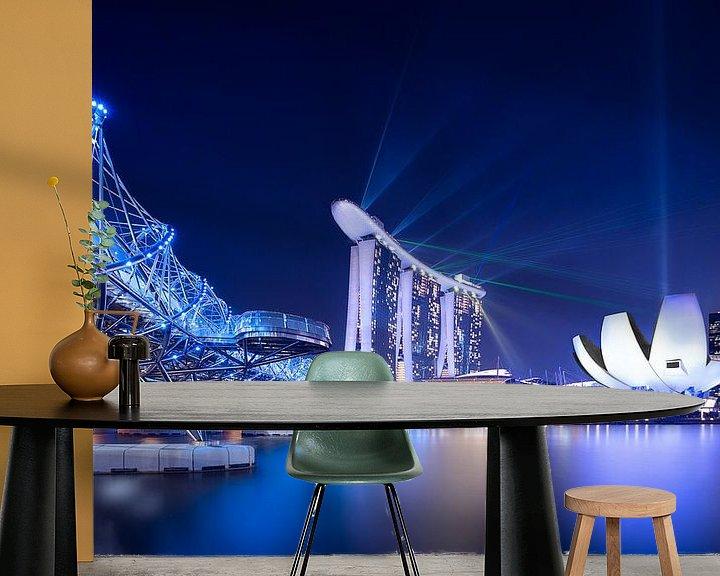 Sfeerimpressie behang: Marina Bay,  Singapore van Sander Sterk