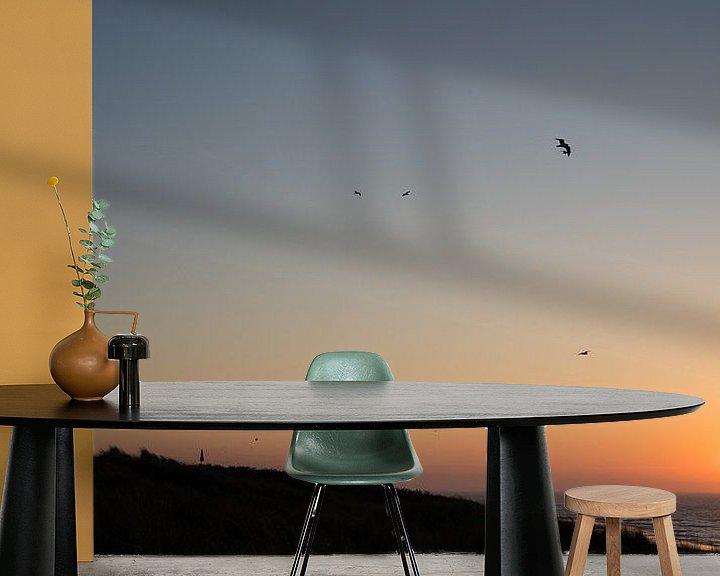 Sfeerimpressie behang: Vlieland zonsondergang van Tomas Grootveld
