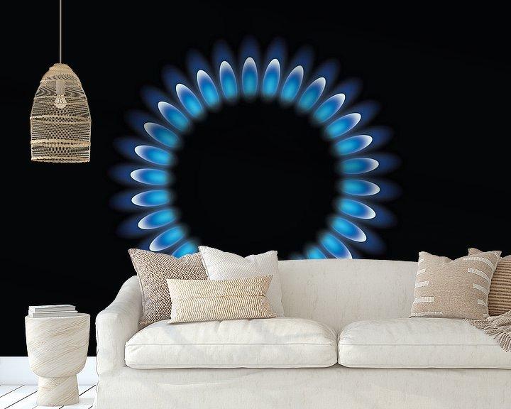 Beispiel fototapete: Gasbrenner mit blauen Flamme, Gasflamme von Mark Rademaker