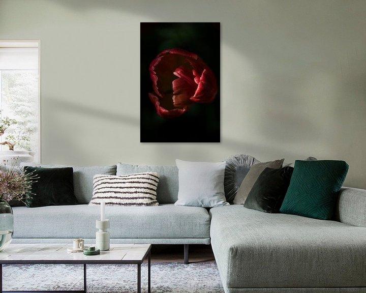 Sfeerimpressie: contrastrijke foto van een tulp van Jovas Fotografie