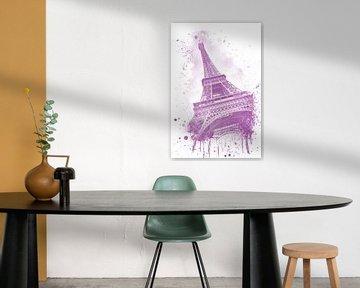 Eiffeltoren aquarel | roze van Melanie Viola