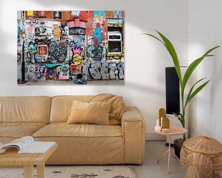 Sfeerimpressie: Graffiti muur, Shoreditch, Londen van Roger VDB