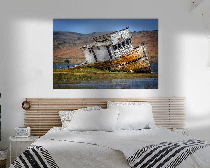 Sfeerimpressie: Oud scheepswrak op het droge in Point Reyes van Jan van Dasler