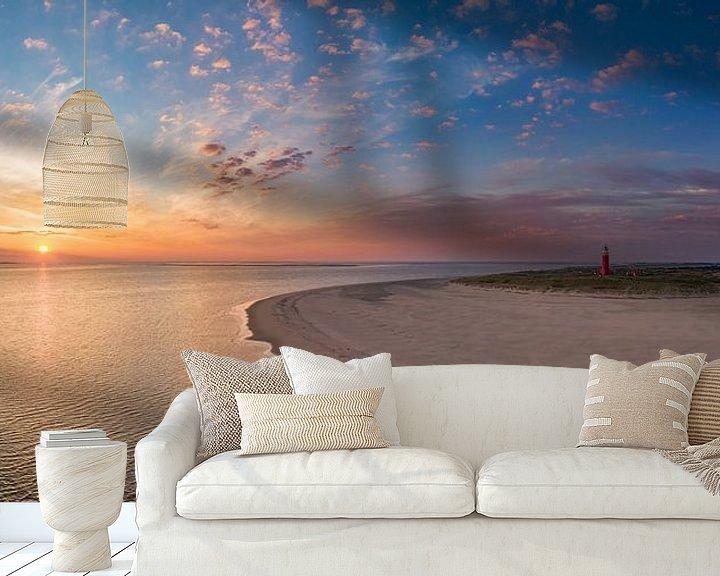 Sfeerimpressie behang: Vuurtoren Eierland - Texel - zonsopkomst van Texel360Fotografie Richard Heerschap