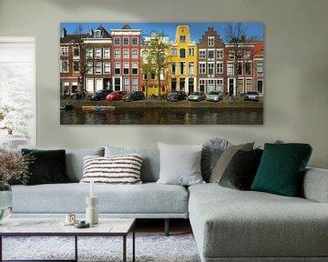Kleurige Grachtenhuizen in Leiden von Georges Hoeberechts