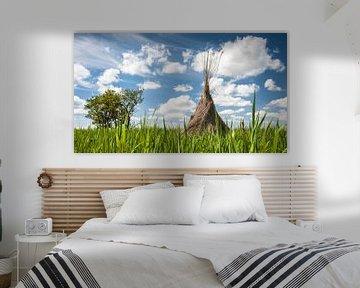 Traditionelle Schilfschneider zogen in die Landschaft ein von Fotografiecor .nl