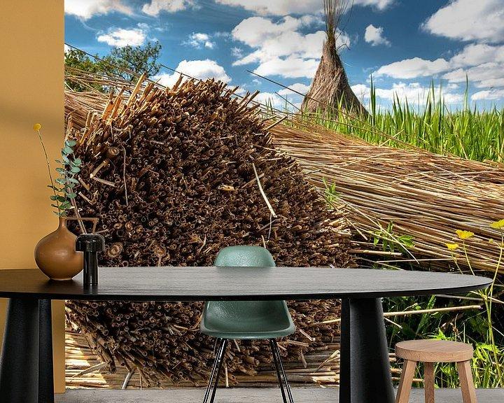 Sfeerimpressie behang: Afgesneden riet in Nederlands landschap van Fotografiecor .nl