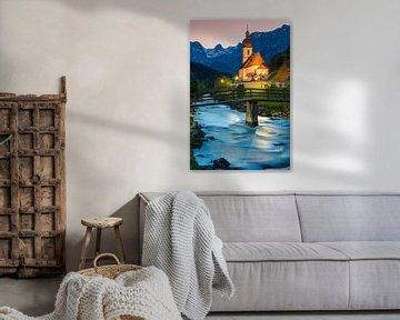 St Sebastian Kerk, Ramsau, Duitsland van Henk Meijer Photography