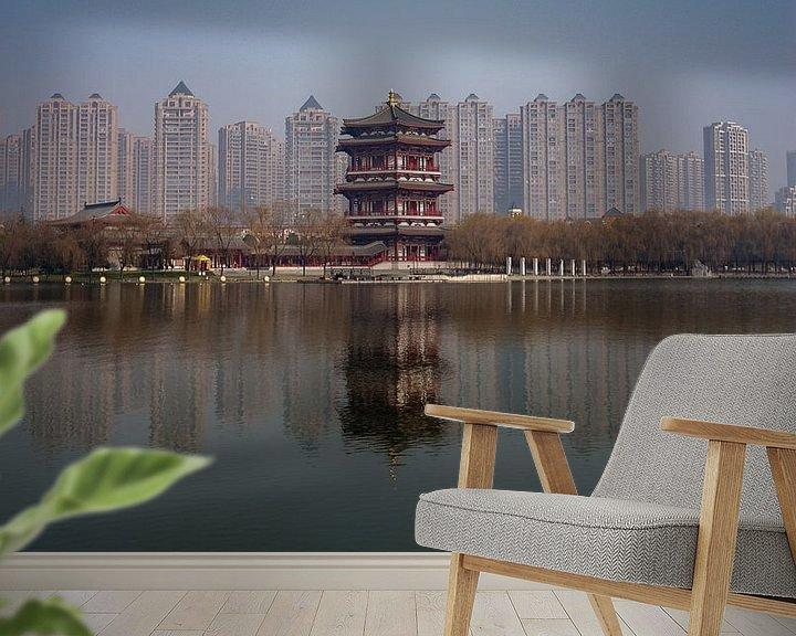 Beispiel fototapete: Chinesische Türme: Alt gegen Neu (lang) von Thijs van den Broek