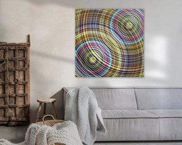 Interferenzmuster zweier Kreise in Farbe von Andree Jakobson