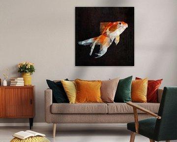 Low Poly Gold Fisch von Erik-Jan ten Brinke