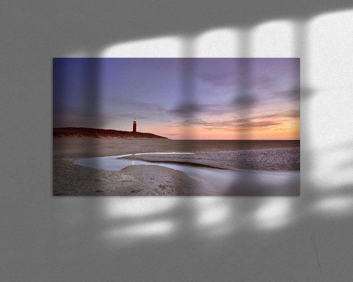 Sfeerimpressie: Texel vuurtoren bij zonsondergang van John Leeninga